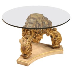 Italian Round Coffee Table in Lacquered and Gilded Wood with Glass Top