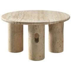 Italian Round Coffee Table in Travertine
