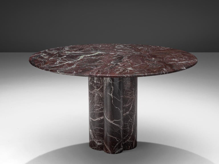 Mid-Century Modern Italian Round Deep Red Marble Table For Sale