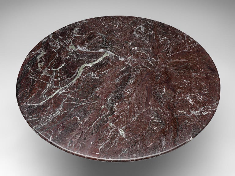 Mid-20th Century Italian Round Deep Red Marble Table For Sale
