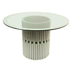 Italian Round Dining table in Chrome and Glass, 1960s