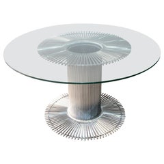 Italian Round Dining Table in Chrome and Glass Gastone Rinaldi, 1960s