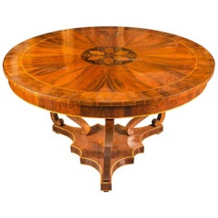 Italian Round Dining Table, Italy 19th Century Inlaid Wood Charles X Biedermeier