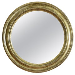 Italian Round Giltwood Mirror, Early 18th Century