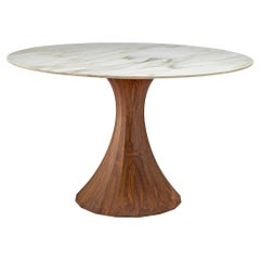 Italian Round Marble Table with Wooden Pedestal, circa 1970