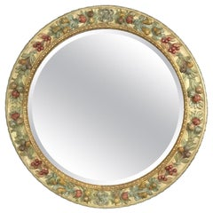 Italian Round Mirror with Carved Polychrome Fruits Della Robbia Style by Chelini