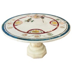 Italian Round Painted Inlay Marble Table