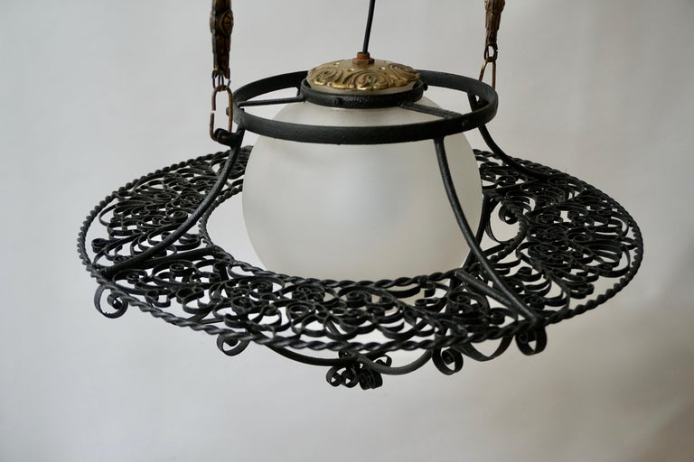 Italian Round Painted Iron Ceiling Light with One Centre Light For Sale 4