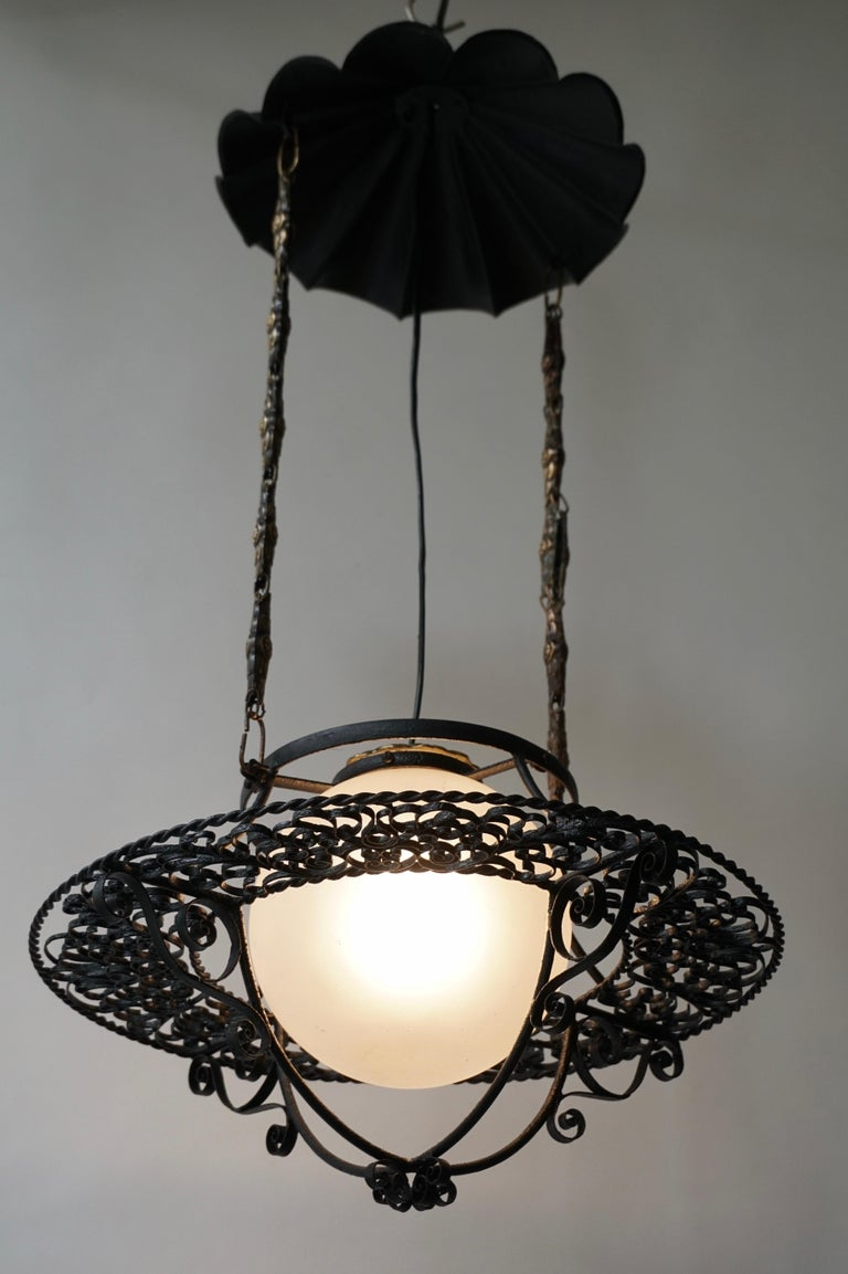 Italian Round Painted Iron Ceiling Light with One Centre Light For Sale 5