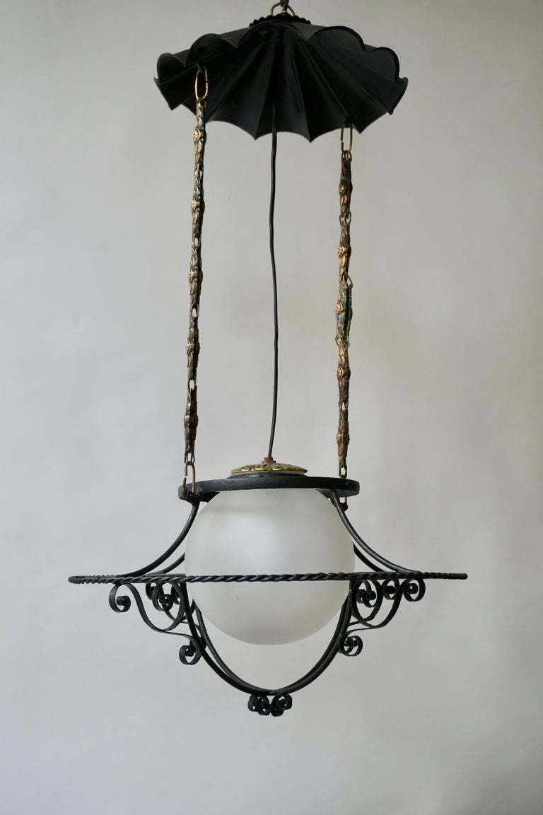 Italian Round Painted Iron Ceiling Light with One Centre Light For Sale 6