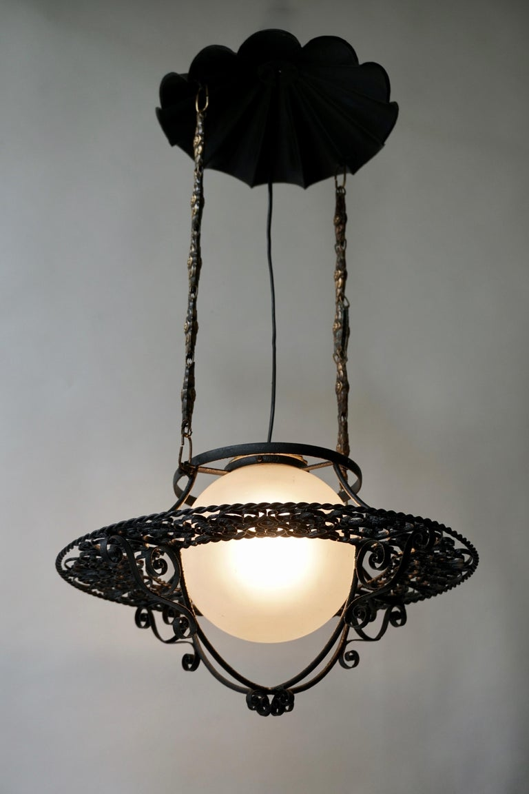 Italian Round Painted Iron Ceiling Light with One Centre Light For Sale 7