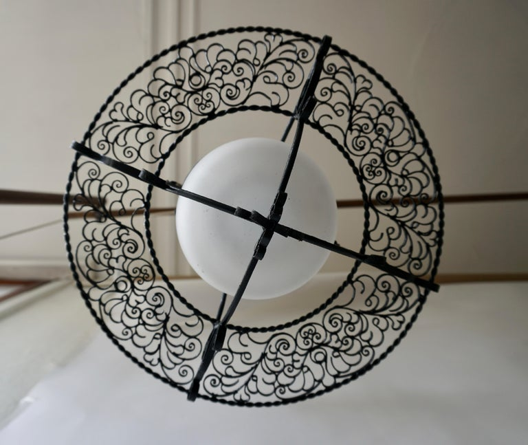 20th Century Italian Round Painted Iron Ceiling Light with One Centre Light For Sale