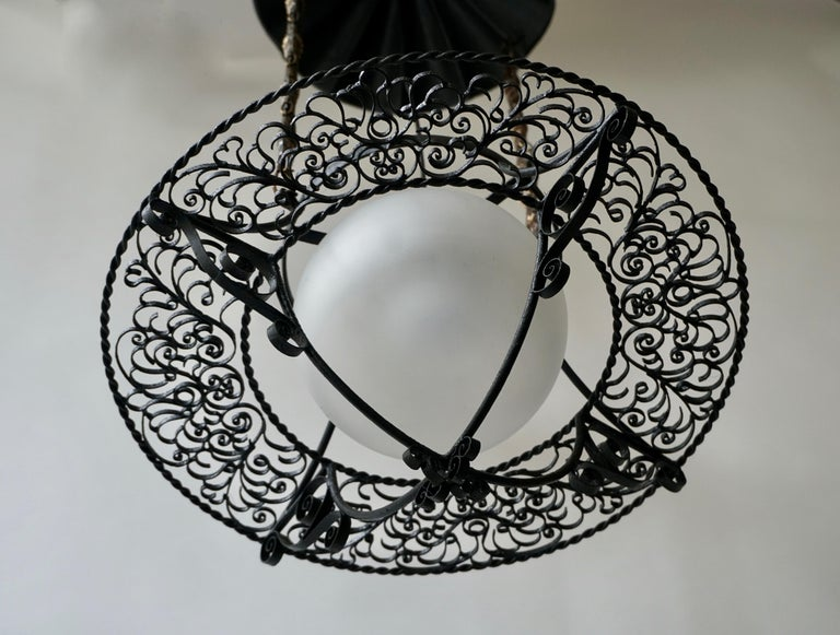 Metal Italian Round Painted Iron Ceiling Light with One Centre Light For Sale