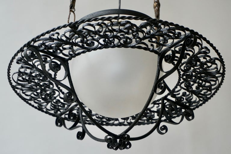 Italian Round Painted Iron Ceiling Light with One Centre Light For Sale 1