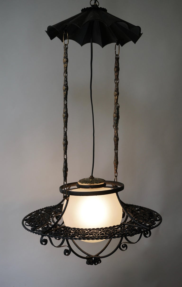 Italian Round Painted Iron Ceiling Light with One Centre Light For Sale 2