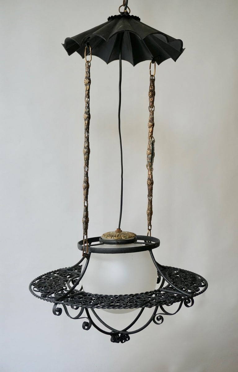 Italian Round Painted Iron Ceiling Light with One Centre Light For Sale 3