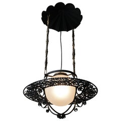 Italian Round Painted Iron Ceiling Light with One Centre Light
