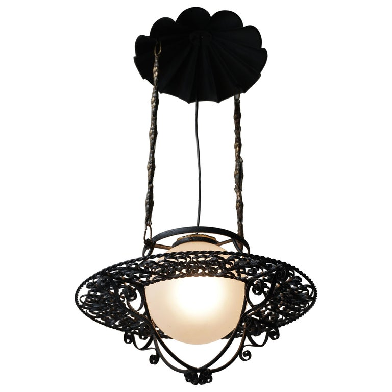 Italian Round Painted Iron Ceiling Light with One Centre Light For Sale
