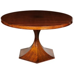 Italian Round Pedestal Dining Table of Palisander Wood