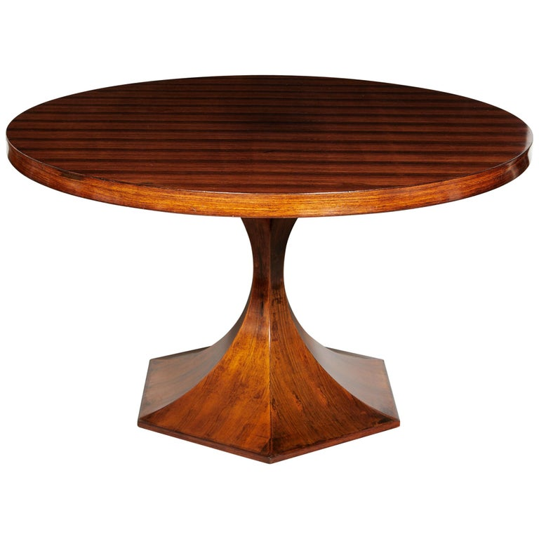Italian Round Pedestal Dining Table Of Palisander Wood For Sale At