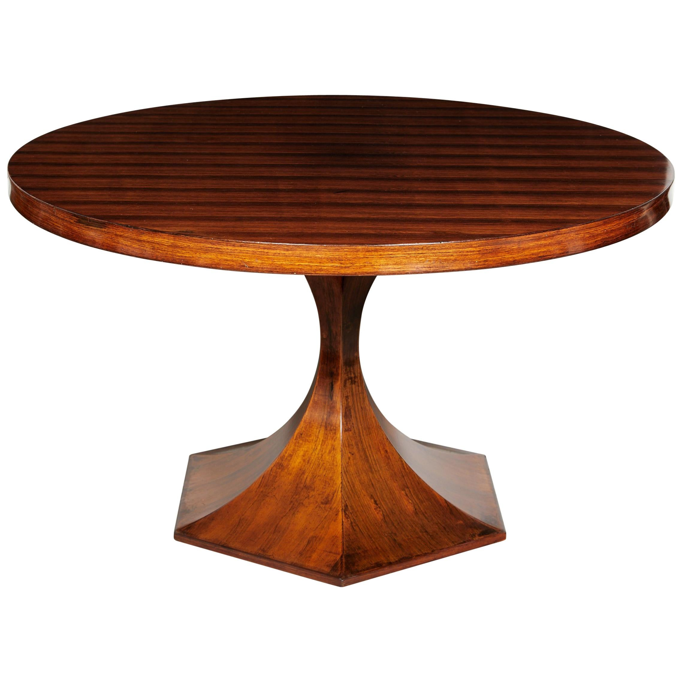 Italian Round Pedestal Dining Table Of Palisander Wood