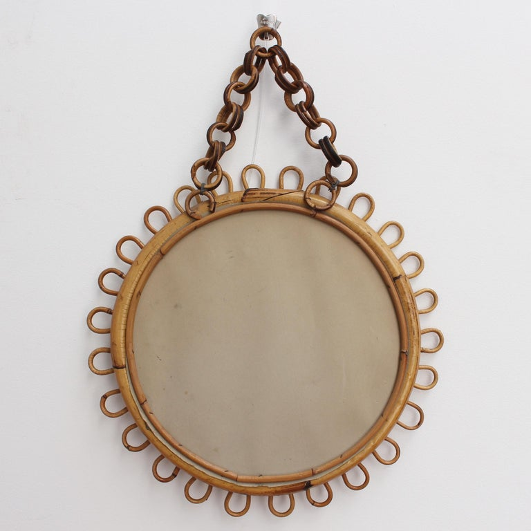 Italian Round Rattan Wall Mirror with Chain 'circa 1960s' For Sale 6