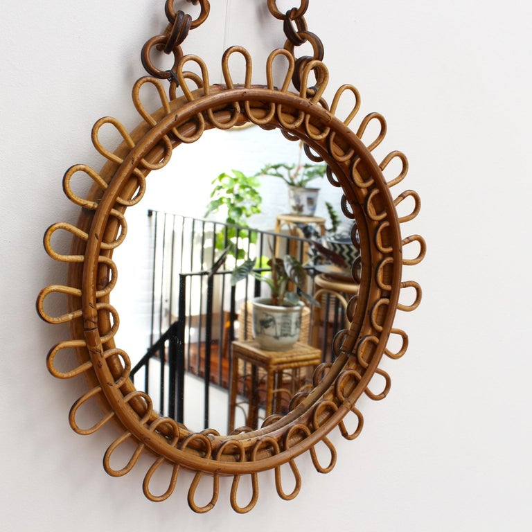 Mid-20th Century Italian Round Rattan Wall Mirror with Chain 'circa 1960s' For Sale