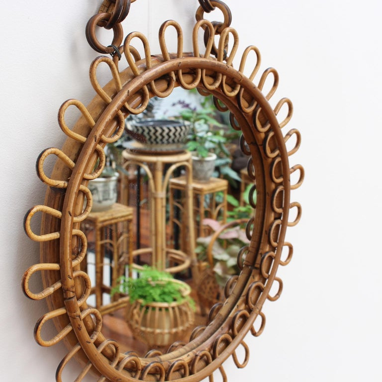 Italian Round Rattan Wall Mirror with Chain 'circa 1960s' For Sale 1