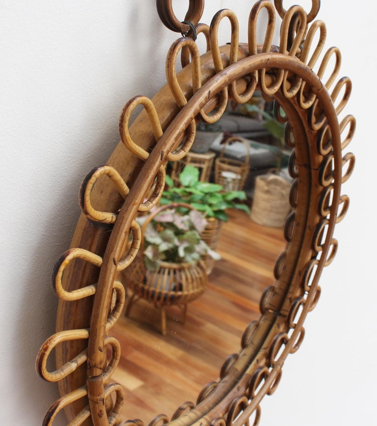 Italian Round Rattan Wall Mirror with Chain 'circa 1960s' For Sale 2