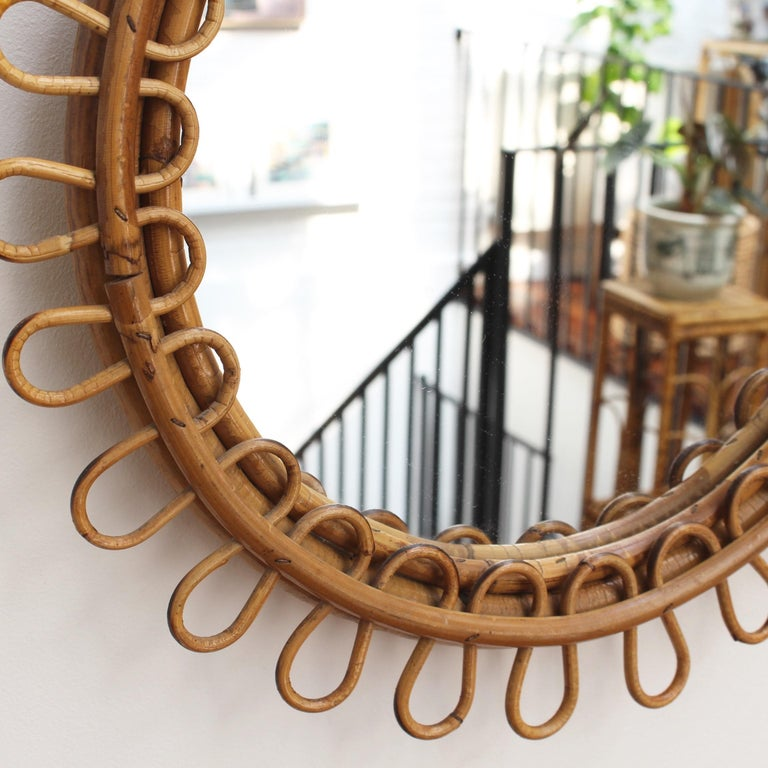 Italian Round Rattan Wall Mirror with Chain 'circa 1960s' For Sale 3