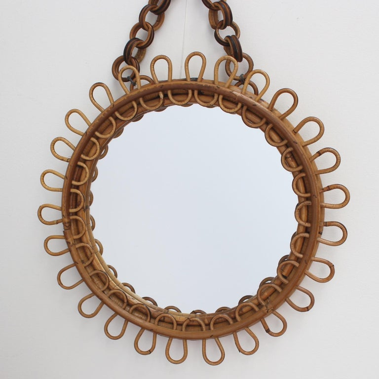 Italian Round Rattan Wall Mirror with Chain 'circa 1960s' For Sale 4