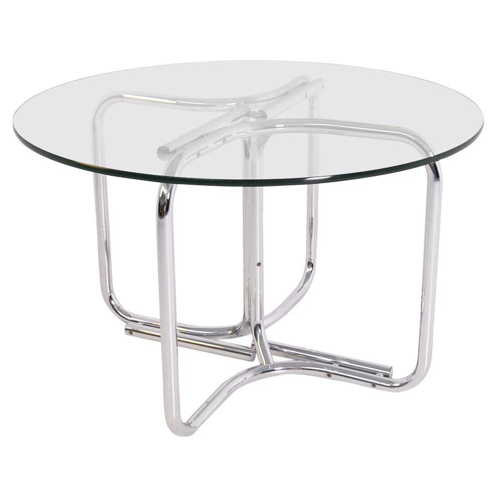 Italian Round Table by Giotto Stoppino in Steel and Glass