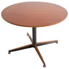 Italian Round Table in Wood and Iron, 1950s