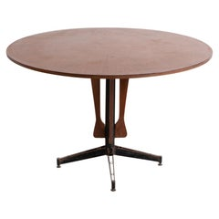 Italian Round Table in Wood, Iron and Brass, 1950s