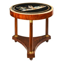 Italian Round Table with Marble Top, Italy, 19th Century, Inlay Empire Charles X