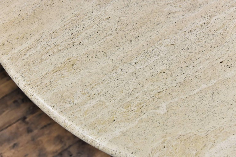 Late 20th Century Italian Round Travertine Dining Table For Sale
