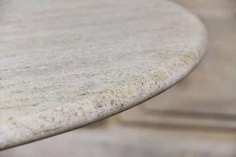 Italian Round Travertine Dining Table For Sale 3