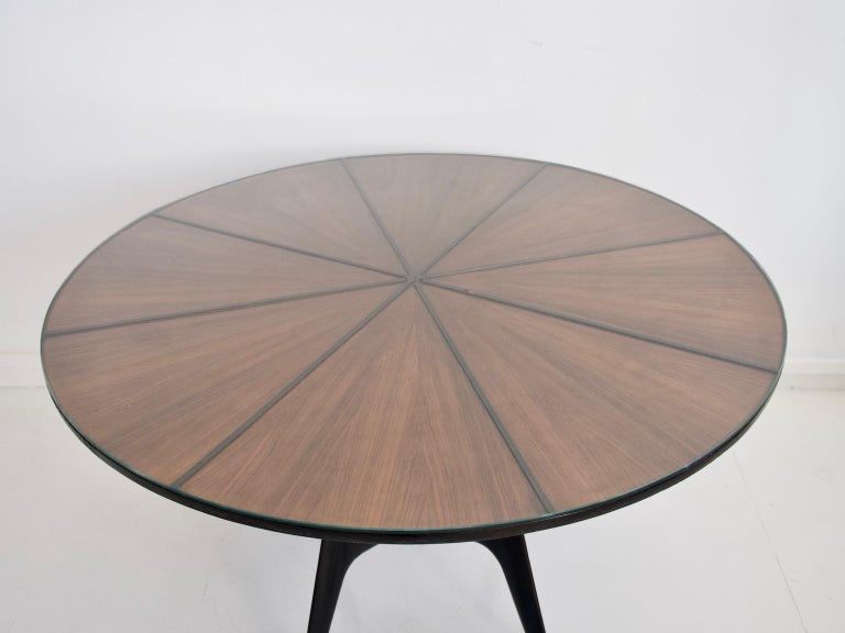 Mid-Century Modern Italian Round Wooden Dining Table with Glass Top For Sale
