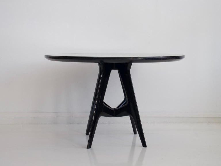 Lacquered Italian Round Wooden Dining Table with Glass Top For Sale