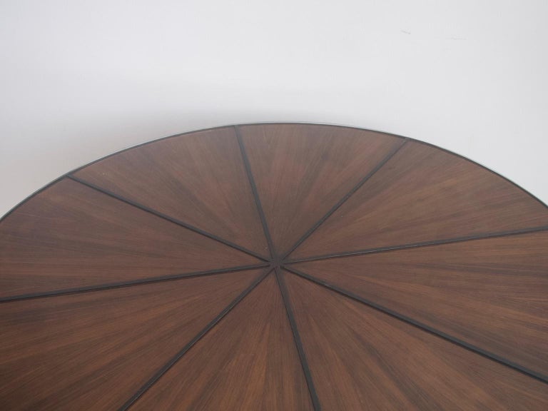 Italian Round Wooden Dining Table with Glass Top For Sale 1