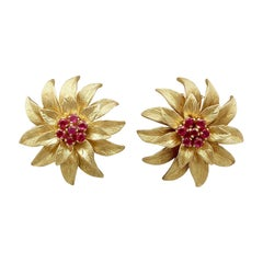 Italian Ruby and Yellow Gold Floral Earrings