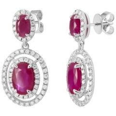 Italian Ruby Diamond White Gold Dangle Earrings for Her