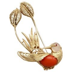 Italian Ruby, Moonstone, Coral and Yellow Gold Hummingbird Brooch