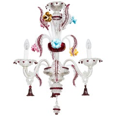 Italian Ruby Red Glass Paste Chandelier in Murano, 1990s Giovanni Dalla Fina