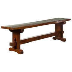 Italian Rustic Walnut Bench with Trestle Base from the Early 19th Century