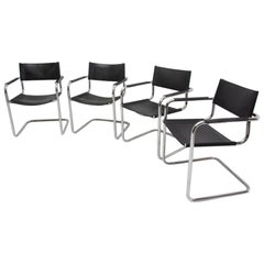 Italian S34 Leather and Chrome Cantilever Chairs by Mart Stam, 1980s