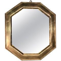 Italian Sand Cast Design Ground Brass Octagonal Mirror Ottone Fuso Laiton Marc