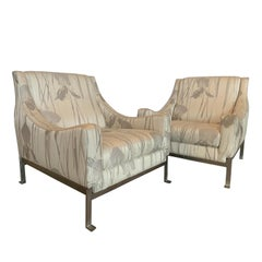 Italian Saporiti Vintage Chrome Chairs with New Rubelli Upholstery