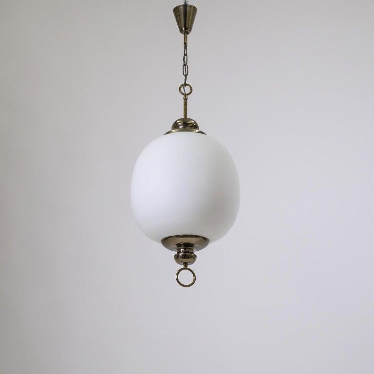 Italian Satin Glass Pendant, 1950s For Sale 4