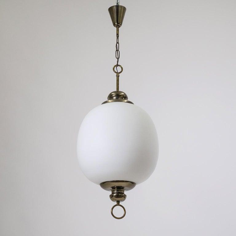 Mid-Century Modern Italian Satin Glass Pendant, 1950s For Sale